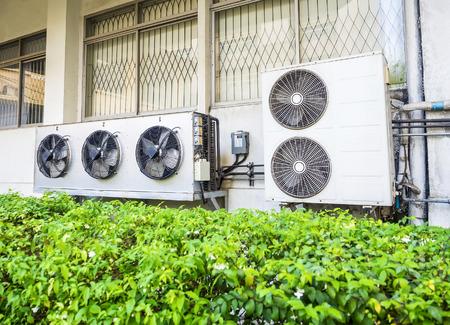 air pump: compressor unit of air conditioner installed outdoor