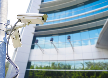 monitoring system: cctv for surveilance and security installed on pole Stock Photo