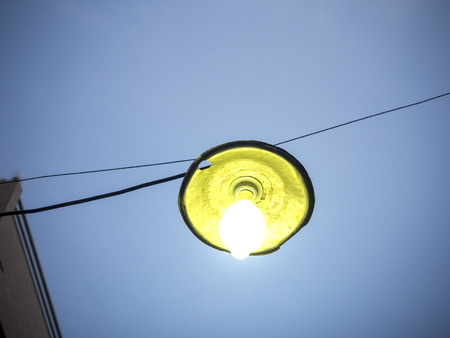encapsulated: mercury gas encapsulated lamp generating high lighting efficiency illumination Stock Photo