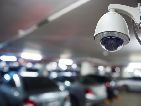 surveillance: cctv installed on the wall to property security, indoor security