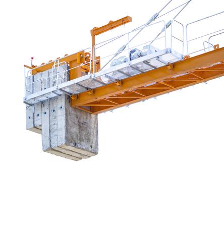 crane parts: partes de la gr�a de construcci�n aisladas sobre fondo blanco Foto de archivo