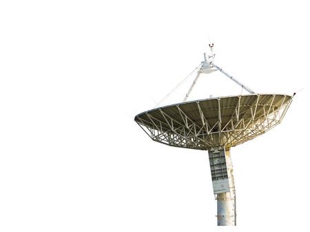 antena parabolica: Parabólica a recibir los datos para la comunicación, aislado en blanco Foto de archivo