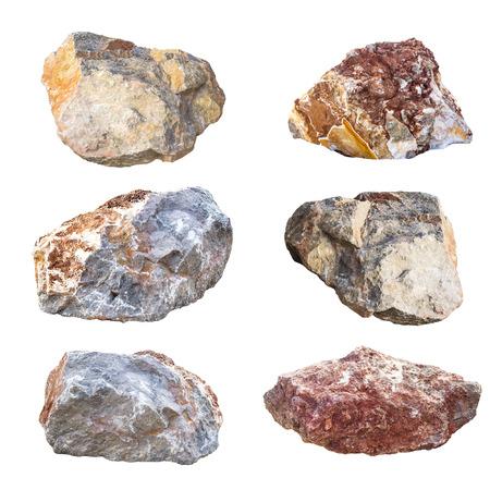 rock texture: big granite rock stones, isolated on white background