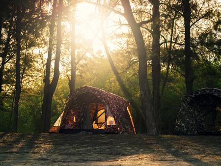 recreatieve camping tenten op zonsondergang op de achtergrond en alpine bomen op natuurlijke bos Stockfoto