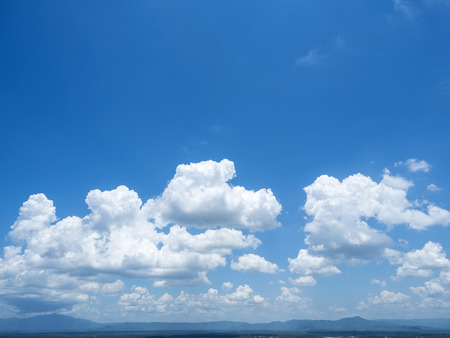 cloud scape: beautiful cloud scape on blue sky background over top mountain view Stock Photo