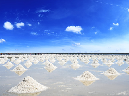 Heap of salt in the farm made of natural ocean salty water evaporated by sunny light, preparing for last process before sent to industry factory Stok Fotoğraf