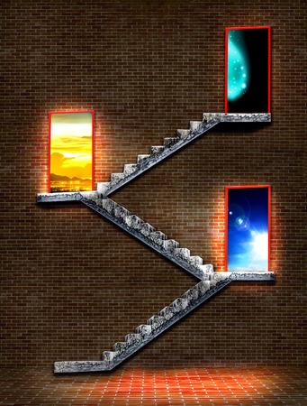 door opening: Concrete stairway leading to exit door opening to blue sky, to evening sky and night sky