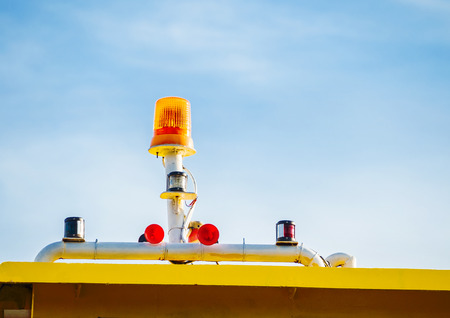 outdoor lighting: lighting signal lamp installed outdoor on warning equipment to precaution some risk situations