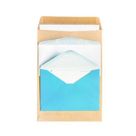 envelops: three types of envelops isolated on white background Stock Photo