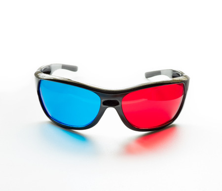 stereoscopic: red and blue on stereo glasses for three dimensional movie on white background
