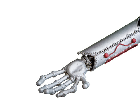 human like: funny robot arm, human like, isolated on white background