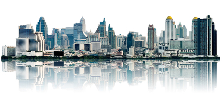 veel moderne gebouwen op midtown, toont wolkenkrabber in panoramisch grootstedelijke, op een witte achtergrond