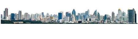 buildings city: many modern buildings on midtown, showing skyscraper in panoramic metropolitan, isolated on white background