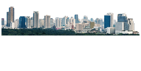 many modern buildings on midtown, showing skyscraper in panoramic metropolitan, isolated on white background