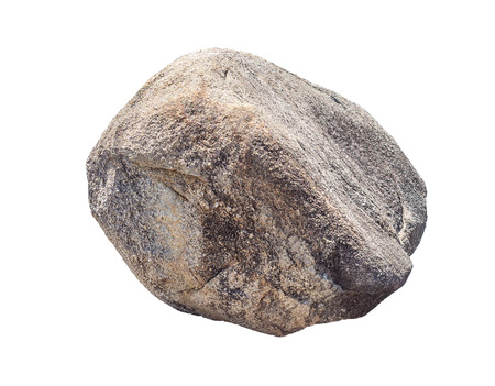 big granite rock stone, isolated on white background