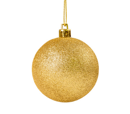 golden ball: golden christmas ball for ornamental christmas, isolated on white background