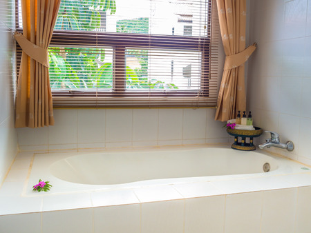 home decorated: interior home decorated bath in front of window Stock Photo
