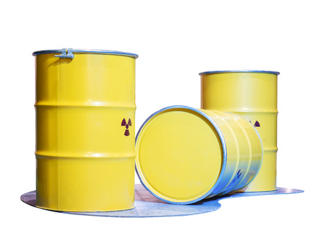 radiation pollution: yellow metal tank, the container of radiation substance waste to protect toxic from pollution