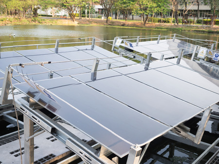 land use: photovoltaic panel or solar cells installed over water surface to optimize of land use
