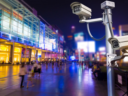 Surveillance Security Camera or CCTV installed outdoor in shopping mall,