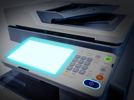 Close-up werkende printer scanner copier-apparaat
