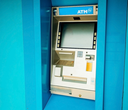 automated teller machine: atm or Automated teller machine on the colorful wall Stock Photo