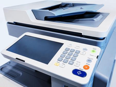 Primer plano de trabajo de la impresora dispositivo de escáner de la copiadora Foto de archivo