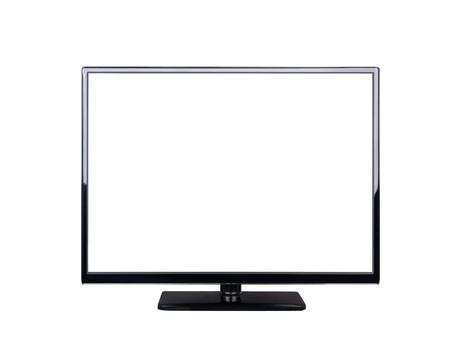 viendo television: televisor LED de pantalla de alta definici�n aislada en el fondo blanco Foto de archivo