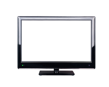 definition high: LED television for high definition display isolated on white background Stock Photo