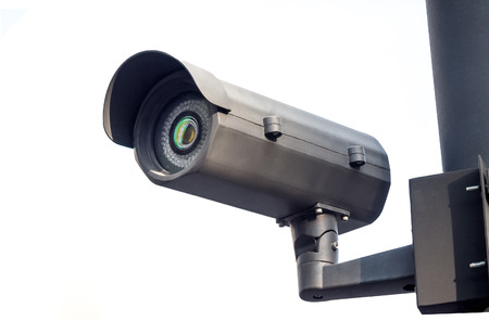cctv installed on the pole in outdoor security system on white Stok Fotoğraf
