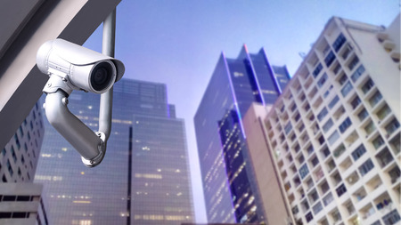 city surveillance: CCTV camera or surveillance system on city building