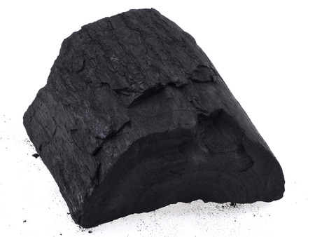 combust: part of wooden charcoal on white background