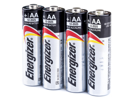 alkaline: BANGKOK, THAILAND - APRIL 05, 2016: Energizers cylindrical AA-type Alkaline battery, It is primary battery having norminal voltage of 1.5 volts