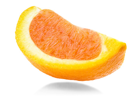 focus stacking: ripe orange sliced fruit isolated on white background, stacking focus added, all objects are in focus