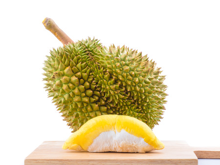 mature durian fruit isolated on white background, durian is a smelly fruits and called king of fruit. Stok Fotoğraf