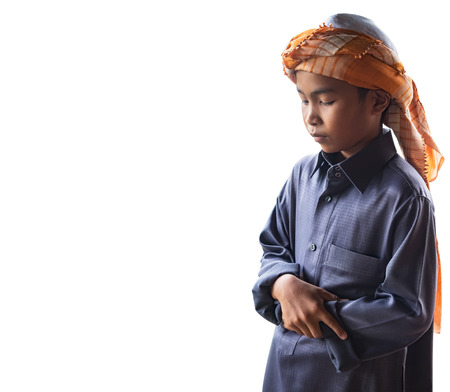 worshiped: muslim child worshiped praying for Allah, muslim God, isolated on white background