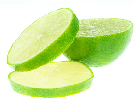 focus stacking: sliced green lemons, lemon is a sour juicy fruit, stacking focus added Stock Photo
