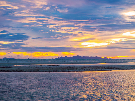 colorful cloudscape: colorful cloudscape of sunset sky on the horizontal sea scene