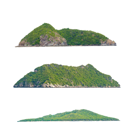 rock island with stone and some small green trees on the top, isolated on white background