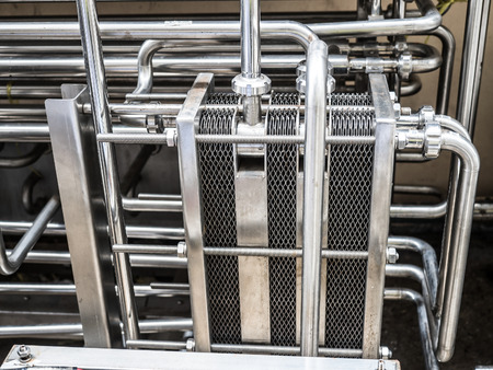metalic plate in heat exchange machine in the food industrial plant Stok Fotoğraf