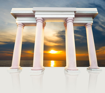 roman column: ancient europe-style pillars on white background, roman column gate Stock Photo