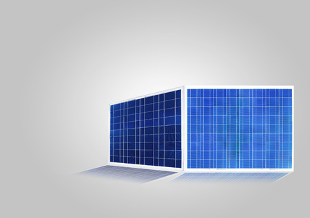 transverse: solar cell isolated on gray, silicon photovoltaic cell transverse light energy to electricity