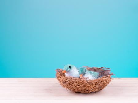 cute couple birds toy on nest with eggs on floor