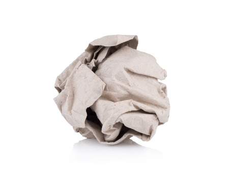 rough paper lump isolated on white background