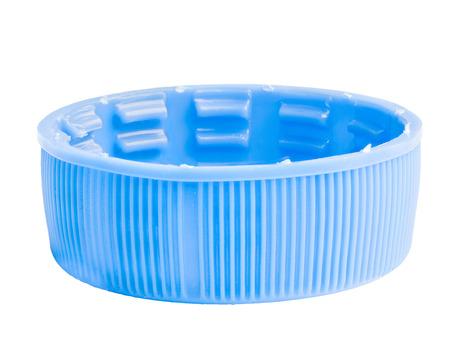 gasket: blue plastic bottle cap isolated on white background