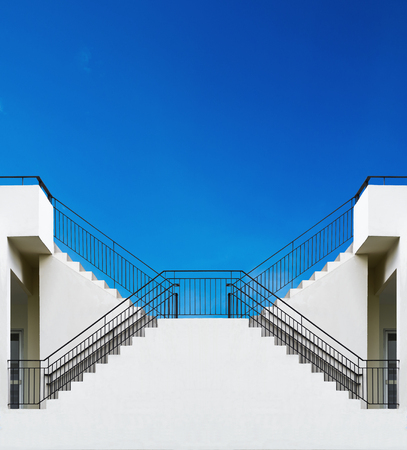 symetry: stair step up to blue sky, conceptual design in symetry Stock Photo