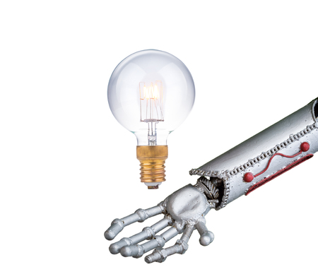 human like: funny robot arm, human like with light bulb on gray background, innovation concept Stock Photo