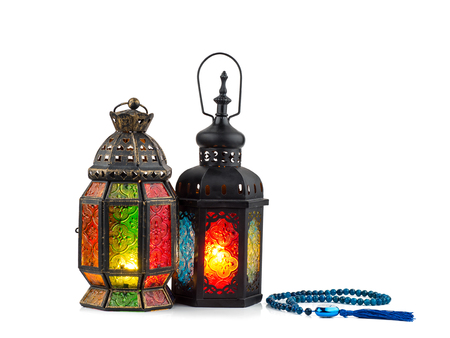 vintage candle lantern  in arabic style isolated on white, use in ramadan kareem night, and in islamic festival