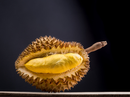 close up shot on durian, sweet king of fruits on dark background,  vegetable for diet with nutrition ingredient concept. Stock Photo - 87346938
