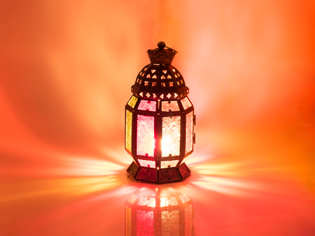candle: vintage candle lantern  in arabic style, use in ramadan kareem night, and in islamic festival Stock Photo